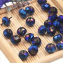Beads, Selenial Crystal, Crystal, Dark blue AB, Faceted Discs, 8mm x 8mm x 6mm, 10 Beads, [ZZC114]